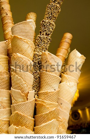 Waffle Cones in an Ice Cream Shop - Florence Italy - stock photo