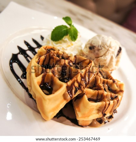 Waffle with Ice-cream - stock photo