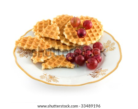 Waffles and berrys isolated in white background - stock photo