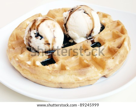 Waffles and ice cream. - stock photo