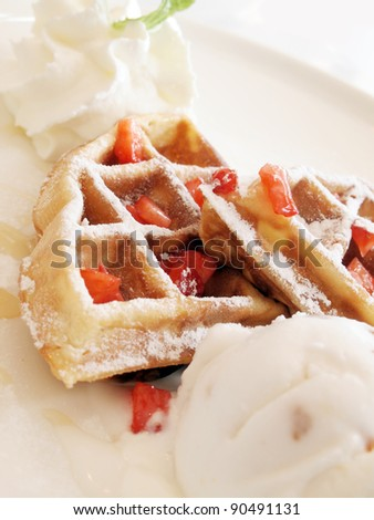 Waffles and ice cream - stock photo