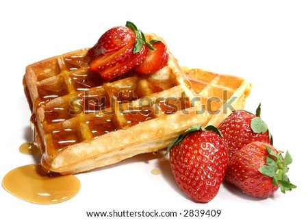 waffles and strawberries isolated on white background - stock photo