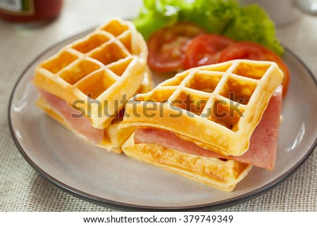 waffles ham cheese sandwich in plate - stock photo