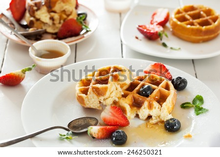 waffles in plate after eat - stock photo