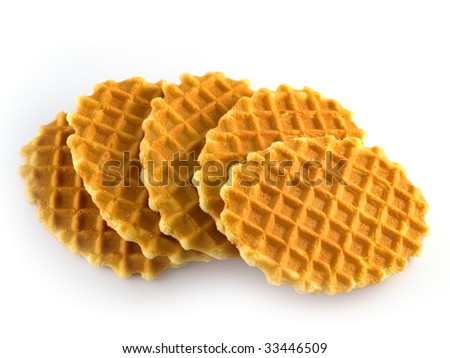 Waffles isolated in white background - stock photo