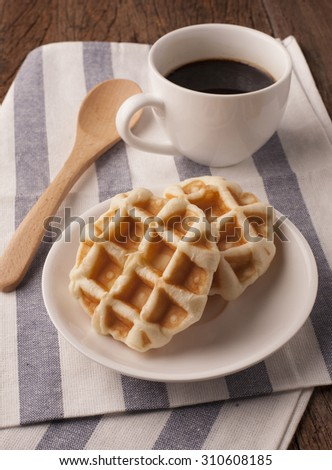 waffles on wood table