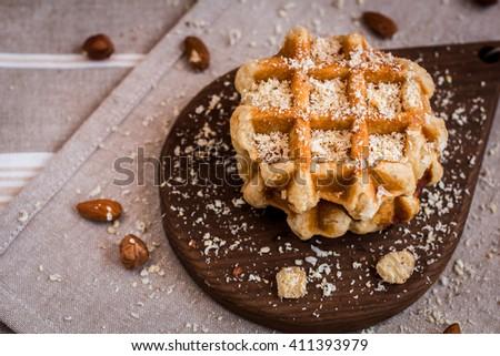 waffles, sugar waffles, Belgian waffles, waffle with nuts, waffles close up - stock photo