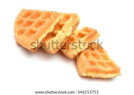 waffles with a pat of butter on red dish isolated on white - stock photo