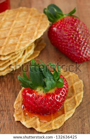 waffles with strawberry and jam