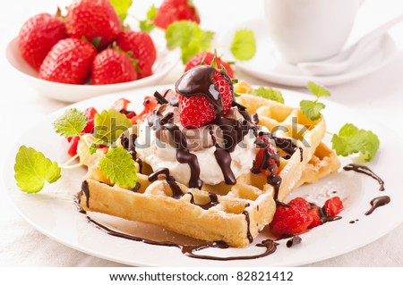 Waffles with strawberry dessert - stock photo