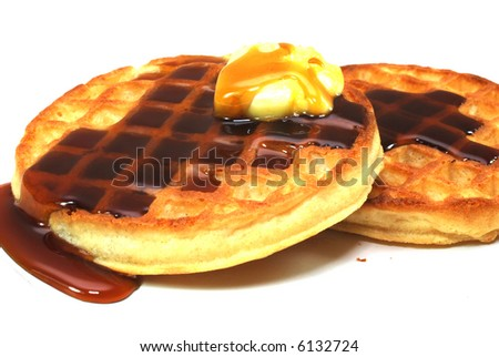 Waffles with syrup isolated on white background. - stock photo