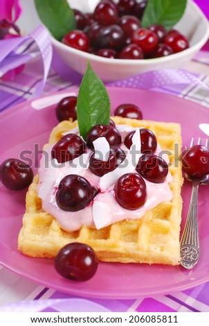 waffles with yogurt and fresh sour cherries for dessert - stock photo