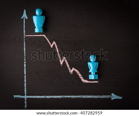 Wage gap and gender equality concept depicted with male and female figurines and hand drawn chalkboard line graph - stock photo