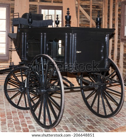 Wagon made for undertaker to use during funerals - stock photo