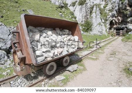 wagon of old abandoned mine in the lakes of Covadonga, National Park Picos de Europa,  Cangas de Onis, Asturias, Spain - stock photo