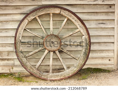 wagon wheel in workshop - stock photo
