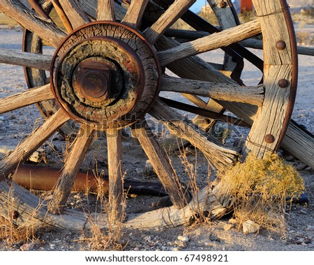 Wagon wheel near Rhyolite, Nevada just outside of Death Valley National Park