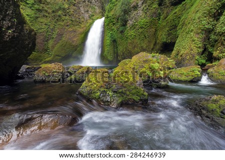Wahclella Falls at Columbia River Gorge National Scenic Forest in Oregon - stock photo
