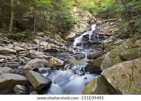 Wahconah Falls in Dalton, Massachusetts. - stock photo