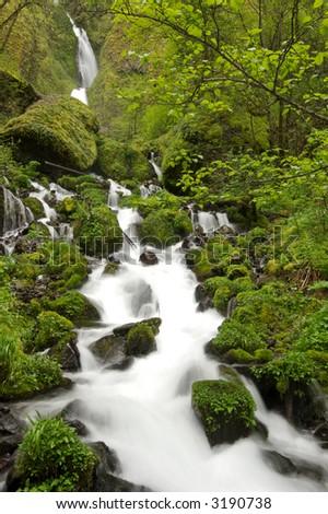 Wahkeena Waterfall in the Columbia River Gorge - stock photo