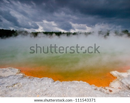 Wai-O-Tapu (Maori for �¢??Sacred Waters�¢?�) is an active geothermal area at the New Zealand - stock photo