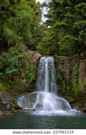 Waiau Waterfall in Kauri Grove, Coromandel, New Zealand - stock photo