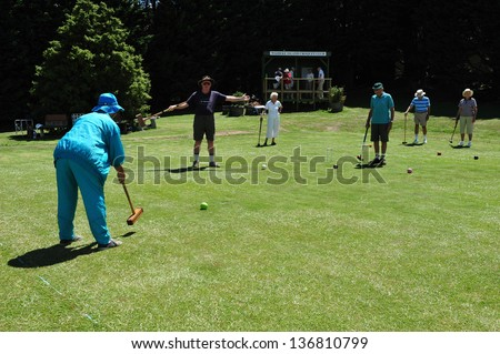 WAIHEKE, NZ - FEB 17:Elderly playing croquet on February 17 2009.It's New Zealand's most densely populated island, with 83.58 people/km², and the third most populated after the North and South Island
