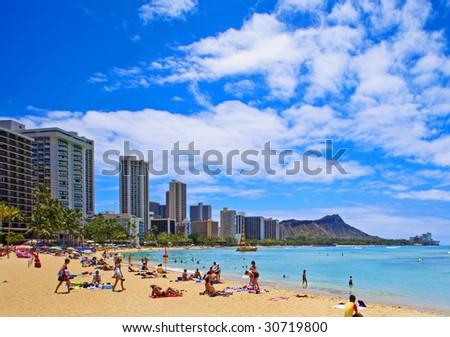 Waikiki Beach and Diamond Head Crater on the Hawaiian island of Oahu - stock photo
