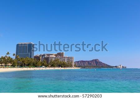 Waikiki beach and Diamond Head crater on the island of Oahu, Hawaii - stock photo