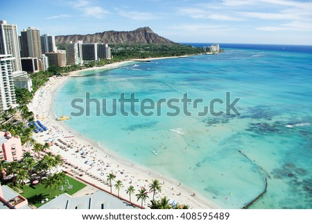 Waikiki Beach and Diamond Head, Honolulu, Oahu Island, Hawaii - stock photo
