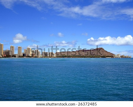 Waikiki Beach and Diamond Head, Oahu, Hawaii - stock photo