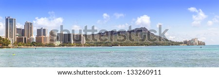 Waikiki beach and hotels with Diamond head mountain panorama - stock photo