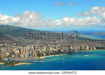 Waikiki Beach from the air - stock photo