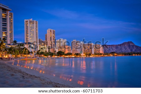 Waikiki Beach, Hotels, Resorts and Diamond Head Crater on Oahu Island, Hawaii, USA - stock photo