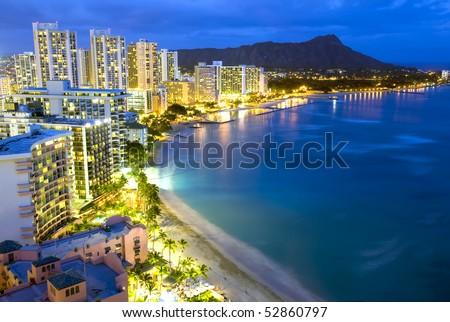Waikiki  beach in Honolulu, Hawaii. - stock photo