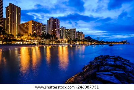 Waikiki beach in Honolulu Hawaii before sunrise