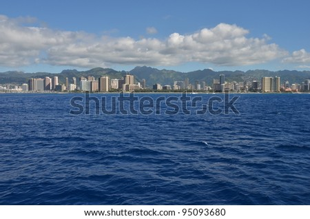 Waikiki beach of Hawaii - stock photo