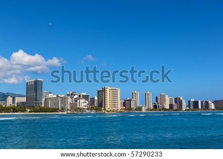 Waikiki beach on the island of Oahu, Hawaii - stock photo