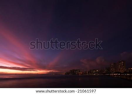 Waikiki Beach Sunset - stock photo