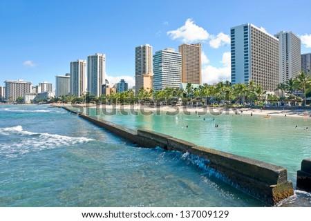 Waikiki beach The City of Honolulu Hawaii USA - stock photo