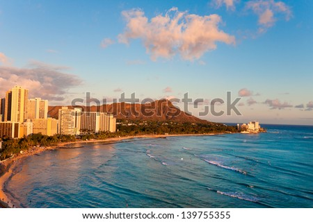 waikiki beach with diamond head resorts hawaii - stock photo