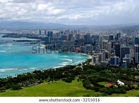 Waikiki from above - stock photo