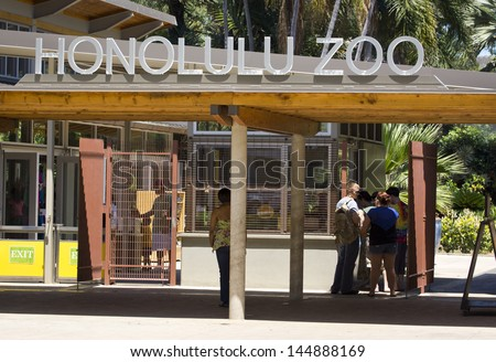 WAIKIKI, HAWAII - MAY 11: The Honolulu Zoo pictured on May 11, 2013.  Located in the Waikiki district, this zoo is 42 acres and home to 905 different animals from the tropics.