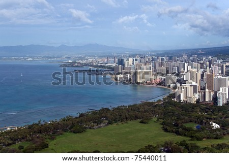Waikiki hotels on shoreline, Honolulu, Hawaii - stock photo