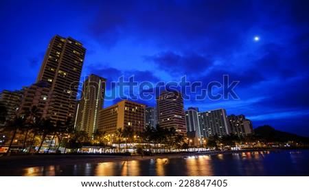 Waikiki in the morning - stock photo