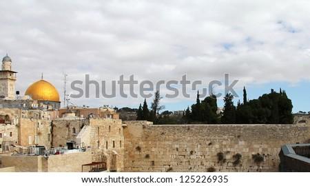 Wailing Wall an important jewish religious site. Jerusalem, Israel - stock photo