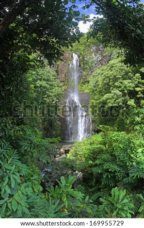 Wailua Falls (Maui, Hawaii) - panoramic view - stock photo