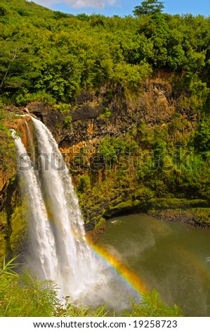 Wailua Falls with rainbow on the island of Kauai