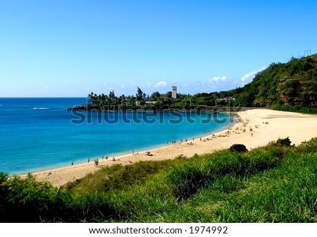 Waimea Bay hawaii - stock photo
