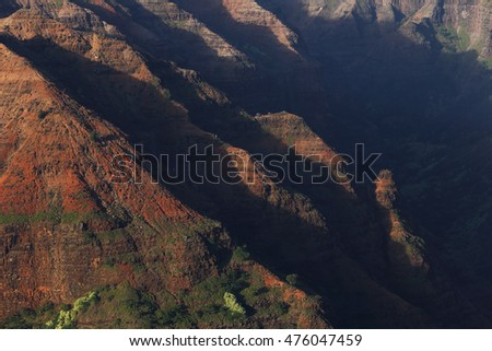"Waimea Canyon, often called ""The Grand Canyon of the Pacific"" is a spectacular gorge on the West side of the island of Kauai, Hawaii"
